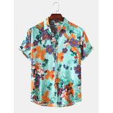 Men Floral Print Turn Down Collar Hawaii Holiday Short Sleeve Shirts