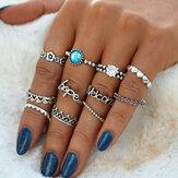 Vintage Crystal Knuckle Ring Set geometrische Silberringe