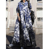 Women Retro Turn-down Collar Long Sleeve Vintage Shirt Maxi Dress With Pocket