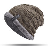 Mens Plus Velvet Knitted Stripe Beanie Hats Outdoor Winter Warm Skullcap Beanie