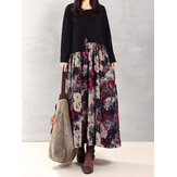 Vintage Women Floral Printed Patchwork Long Sleeve Maxi Dress