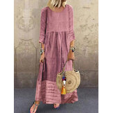 Women 3/4 Sleeve O-neck Stitching Long Sleeve Vintage Maxi Dress