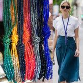 Bohemio Colorful Collar de múltiples capas con cuentas Cadena de suéter de borla de cristal transparente