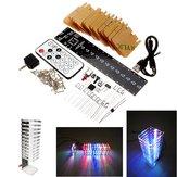 13 Bölümleri Ses Işık Sütun Işık Cube Takım Uzakdan Kumanda DIY Elektronik Müzik Spektrum Kit Destek Şeffaf Akrilik Kabuk Ile Çevrimdışı Animasyon Gece Işığı Modu