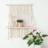 Wall Hanging Shelf Wood Rope Tassel Swing Shelves Woven Tapestry Storage Rack Holder Home Office Room Decor
