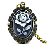 DEFFRUN Fashion Bunga Rose Bronze Quartz Pocket Perhiasan Retro Pendant Kalung