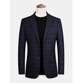 Men Plaid Flat Collar Single-Breasted Pocket Long Sleeve Casual Blazers