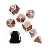 ダンジョンズドラゴンズゲームのためのバッグ銅色の7個入りアンティークメタル多面体ダイス