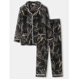 Estampa masculina de folhas grossas Revere Collar manga comprida camisa de bolso conjunto de pijama caseiro quente