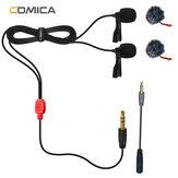 Comica CVM-D02 4,5 m Lavalier-Mikrofonclip mit zwei Köpfen Mini Omnidirektionales Kondensatormikrofon für Sony für Canon für Nikon DSLR-Kamera Mobiltelefon für Gopro Studio Interview Videoaufzeichnung