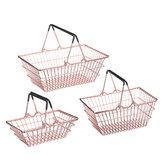Mini Shopping Basket Metal Crafts Gifts Metal Supermarket Shopping Basket Hand-held Shopping Children Toys