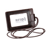 RFID Echtes Leder 4 Card Slot Neck Bag Kartenhalter