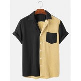 Mens Loose Corduroy Button Down Patchwork Pocket Breathable Casual Shirts