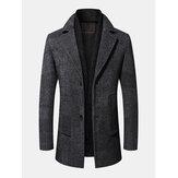 Casacos masculinos de gola plana de lã comercial com lenço
