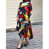 Women Graffiti Print Cotton Contrast Color Irregular Hem Kaftan Casual Loose Long Sleeve Maxi Dress