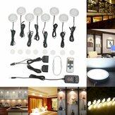 8PCS LED Armário de luz branco regulável contador de cozinha sob disco RF sem fio Controle Remoto + fonte de alimentação