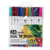 Набор акварельных маркеров 12/24 цветов Wstercolor Painting Dual Tips Кисти для рисования Дизайн принадлежности для художественных маркеров