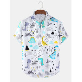 Mens Cartoon Dinosaur & Plant Print Loose Light Casual Short Sleeve Shirts