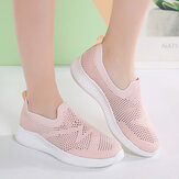 Women Casual Breathable Non-slip Mesh Cloth Slip-on Sneakers