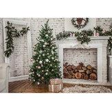 7x5FT Blanco Habitación Árbol de navidad Chimenea Regalo Fotografía Telón de fondo Estudio Prop Fondo