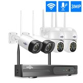 Hiseeu Wireless 8CH 4PCS 3MP Two-Way Audio Security PTZ 5X Digital Zoom Outdoor & Bullet WIFI IP Cameras Waterproof CCTV Kit