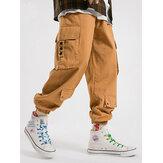 Pantalon cargo à revers avec cordon de serrage 100% coton pour homme