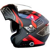 Wasserdichter Motorrad-Full-Face-Helm mit Bluetooth-Musik-FM-Doppelblenden abnehmbar