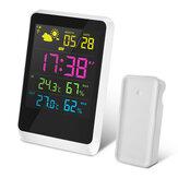 DIGOODG-TH11200HDColorfulミニ天気ステーション屋外室内温度計湿度計温度湿度センサークロック(スヌーズ機能付き)カレンダー