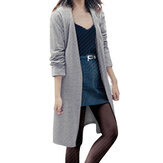 Women Solid Color Long Sleeve Loose Casual Cardigans Outwears