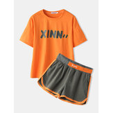 Plus Size Women Letter Print Cotton Casual Pajama Sets With Sports Shorts