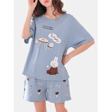 Cute Cartoon Print Short Sleeve Loose Two Piece Pajama Set For Women