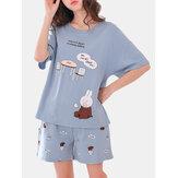 Conjunto de pijama de dos piezas suelto de manga corta con estampado de dibujos animados lindo para Mujer