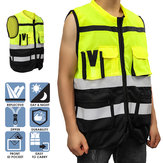 Safety Vest Reflective Driving Jacket Night Security Waistcoat + Pockets