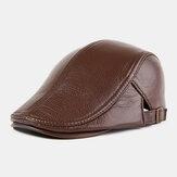 Uomo Vera Pelle Cappello berretto con cappello in avanti in pelle autunno inverno caldo da esterno