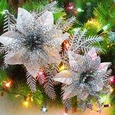 Brilho artificial da árvore de Natal ornamento das flores pingente de decoração natal festa