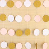 Pink White & Gold Glitter Circle Polka Dots Paper Garland Banner 10FT Banner New Decorations