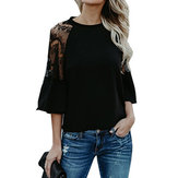 Casual Women Hollow Blonde Pachwork Flare Sleeve Blouse