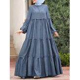 Women Layered Pleats Solid Color Puff Casual Long Sleeve Bohemian Maxi Dress