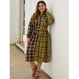 Plus Size Women Plaid Patchwork Turn Down Collar Casual Long Sleeve Dress
