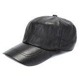 Mens Winter Windproof Cow Leather Baseball Cap Fashion Outdoor Adjustable Forward Hat