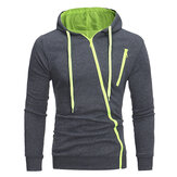 Laki-laki Diagonal Zipper Hoodies Serut Casual Sweatshirt