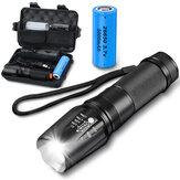 Kit de lanterna tática com zoom XML2 1100LM com 26650 Bateria e carregador de energia luz de trabalho forte anti-queda para acampamento ao ar livre, pesca, caça