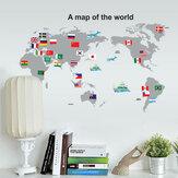 Карта мира наклейки из ПВХ Съемные Водонепроницаемы Наклейки на стены
