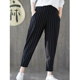 Women Cotton Elastic Waist Trousers Harem Pants