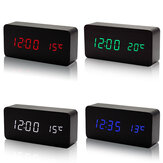 Alarm Clock LED Wooden VST Creatives Thermometer Digital Display Voice Control