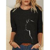 Повседневная блузка с круглым вырезом и длинными рукавами с кошачьим принтом для Женское