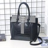 Women PU Leather Crocodile Pattern Handbag