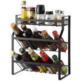 Multi-Functional 3-Tier Condiment Rack Kitchen Supplies Collection Arrangement Shelf Ground Storage Organizer