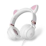 FINGERTIME EP28 Gato Oreja Cute Auriculares Auriculares para juegos con cable 3,5 mm AUX plegable con cable adaptador de micrófono para juegos