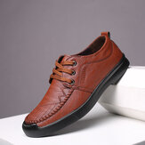 Men Comfy Stitching Microfiber Soft Lace Up Business Casual Leather Shoes